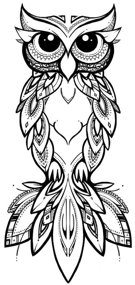COCO | illustration & design  tribal owl #owl #tribal #zentangle #tattoo #pattern #linework