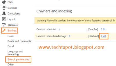 Techtspot: Custom Robots Header Tags In Blogger