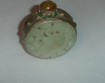 Antique Chinese Handmade Carved Jade & Miao Silver Round Snuff Bottle