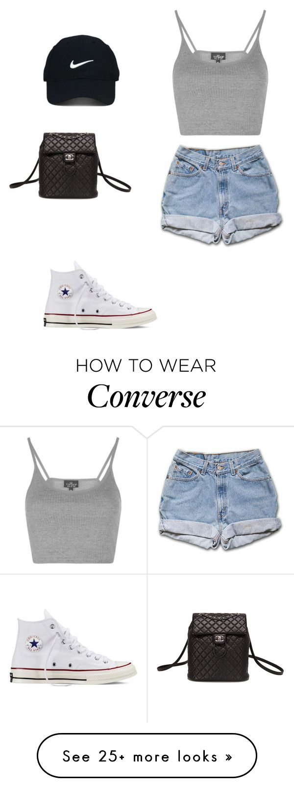 Untitled #125 by gissellesilva on Polyvore featuring Topshop, Converse, Nike Golf and Chanel