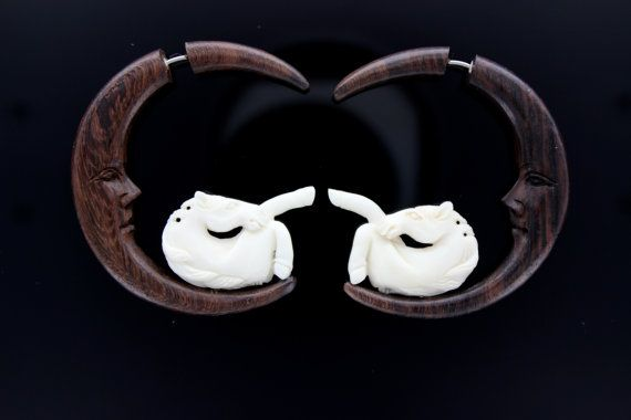 Brown Wood Moon face and White Bone Horse Fake Gauge by ANELAJADE