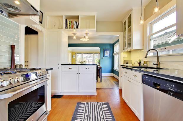 Galley kitchen kitchen pinterest for Galley kitchen designs with breakfast bar