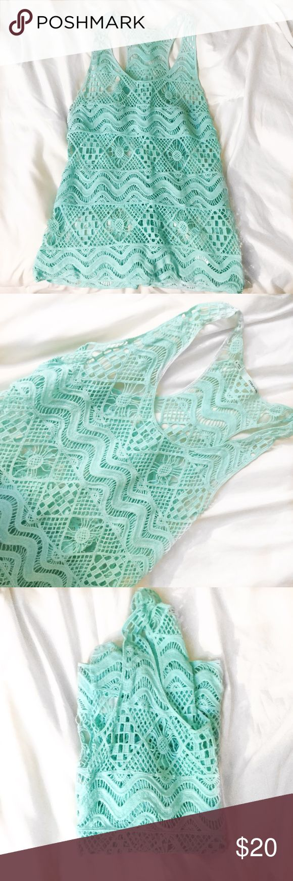 Turquoise crochet tank top A mint crocheted tank top by Maurice's. Size small. True to size. Excellent condition. Maurices Tops Tank Tops