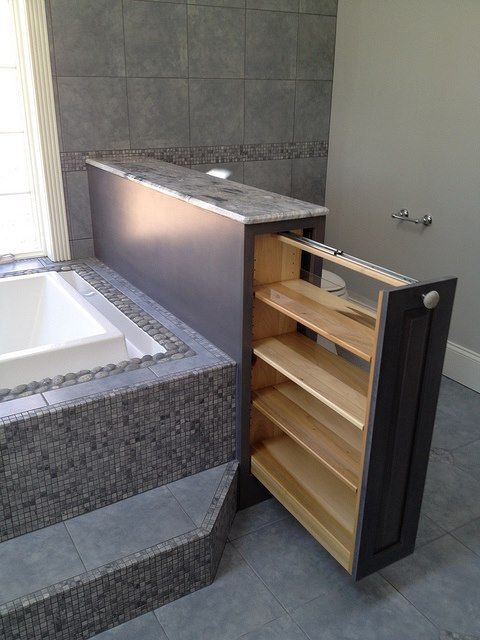 I see these types of pull out storage drawers often in kitchens but rarely in bathrooms. They're a great way to save space in a room where storage is at a premium.