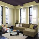Living room with purple ceiling in paint color from Benjamin Moore -vintage wine