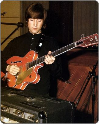"John Lennon with his 1963 Gretsch 6120DC inside #AbbeyRoadStudios during the ""Paperback Writer"" sessions.   The 1963 #Gretsch PX6120DC ""#ChetAtkins"" Hollow Body displayed in our collection is identical to #JohnLennon's #guitar.  #TheBeatles #beatlesgear #beatles #beatlemania  #electricguitar #nostalgia #guitar"