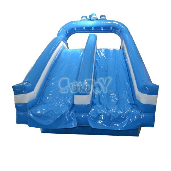 Large blue dolphin inflatable water slide double lane for swimming pool, commercial water slides wholesale at sunjoy.