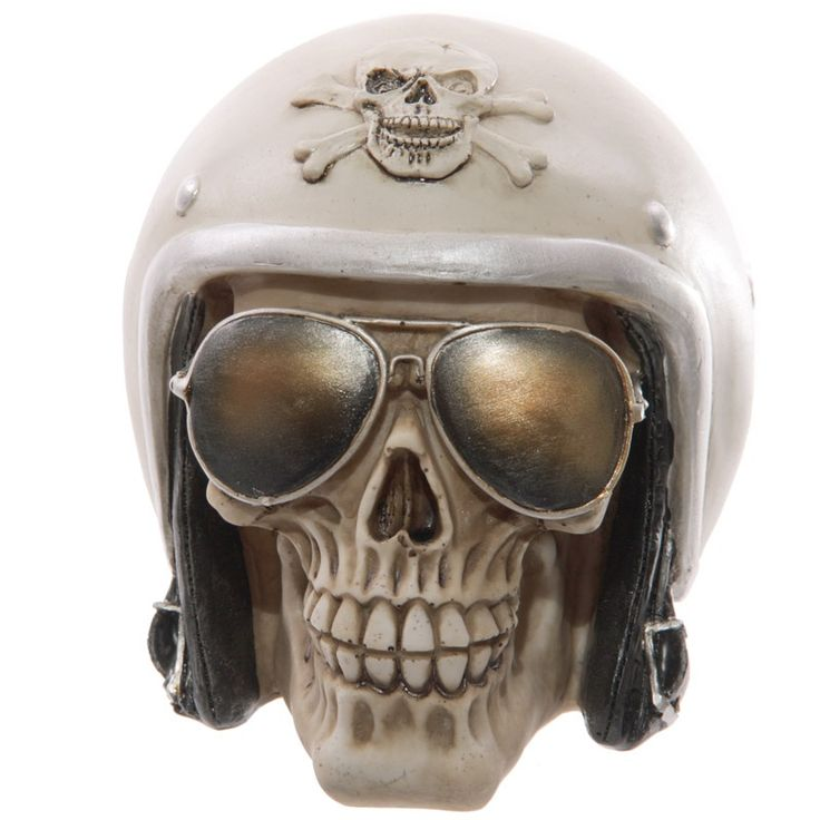Skull with Sun Glasses and Helmet Ornament - 18.50 GBP - Looking for something a bit different to give as a gift? Then check out our range of novelty skull decorations. Made from resin our skulls are fun and gruesome, and will make an ideal present for the friend or family member who has everything...