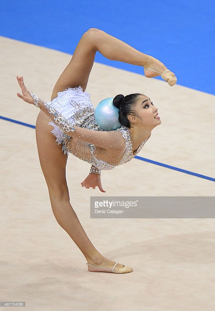 Sakura Hayakawa of Japan competes with ball during the 34th Rhythmic Gymnastics World Championships 2015 on September 11, 2015 in Stuttgart, Germany.