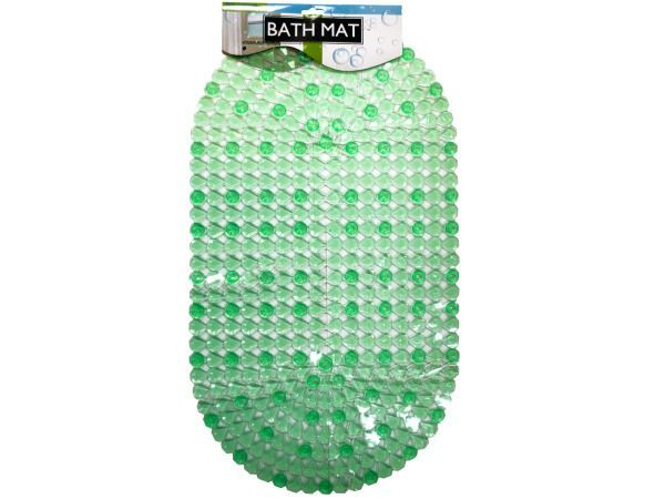 """Anti-Slip Bath Mat with Suction Cups, 8 - Prevent slips and add a splash of color to your bathtub or shower with this Anti-Slip Bath Mat featuring a durable, transparent green plastic mat in a connected jewel design with large suction cups to ensure strong fastening to bathtubs. Ideal for any location where slippage is a problem. Measures approximately 15"""" x 27"""". Comes packaged in a poly bag with a header card.-Colors: transparent,green. Material: plastic. Weight: 0.9458/unit"""