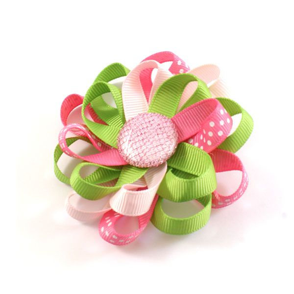 Loopsy Loop Bloem – groen, lichtroze, roze polkadot http://www.haarfrutsels.nl/product/loopsy-loop-bloem-groen-lichtroze-roze-polkadot/