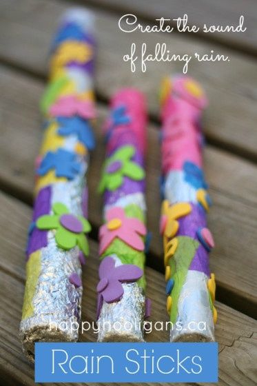 We had rain for about a week, but now it's gone. To fill the void of the soothing rain, how about create your own rhythm? Take some old paper towel rolls and tape the ends shut after putting some rice inside. Then let your kids decorate the outsides however they'd like!