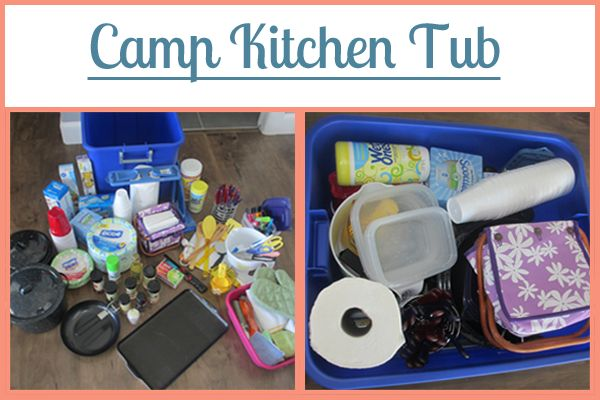Camp Kitchen Tub: Part of the Ultimate Family Camping Packing List With Printables from Your Own Home Store: https://yourownhomestore.com/family-camping-list/