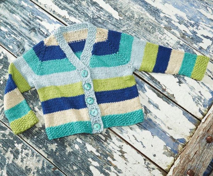 Hopscotch Baby Cardigan | A precious knit baby cardigan you don't want to miss. Look at those stripes!