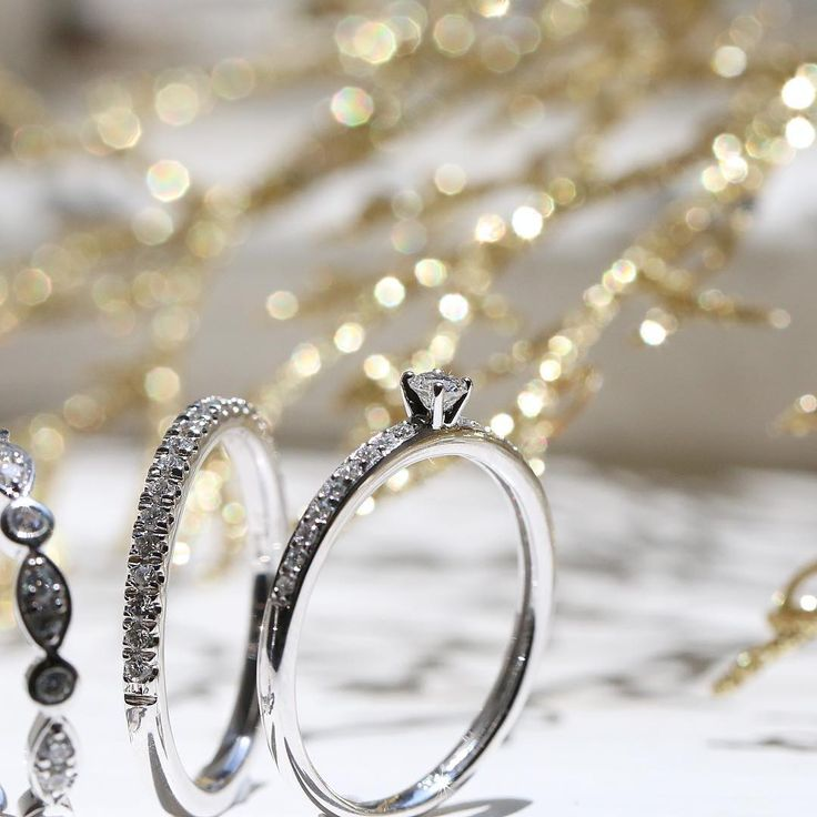Fine diamond ring stacks // KL Diamonds