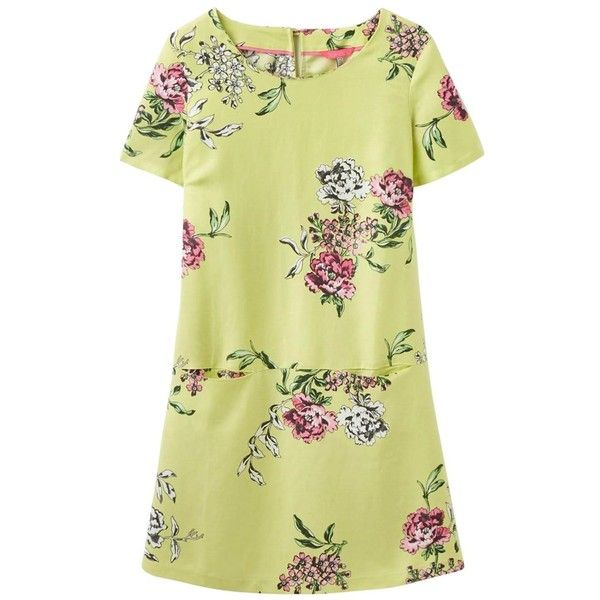 Women's Joules Ianthe Woven Tunic Dress (£56) ❤ liked on Polyvore featuring dresses, cocktail dresses, floral printed dress, braid dress, floral print evening dress and beige dress