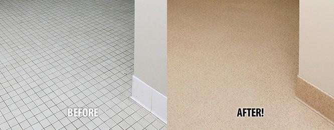 Miracle Method Tile Floor Refinishing Before And After Photos Refinishing Floors Staining Hardwood Floors Tile Installation