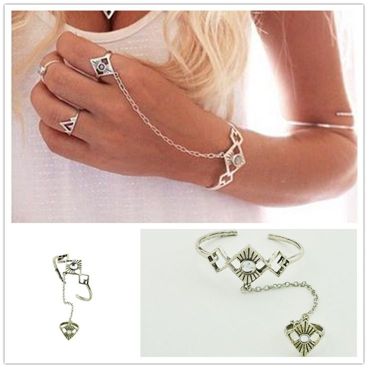 New fashion accessories vintage jewelry silver plated bangle chain link contact finger ring women lovers gift B3466
