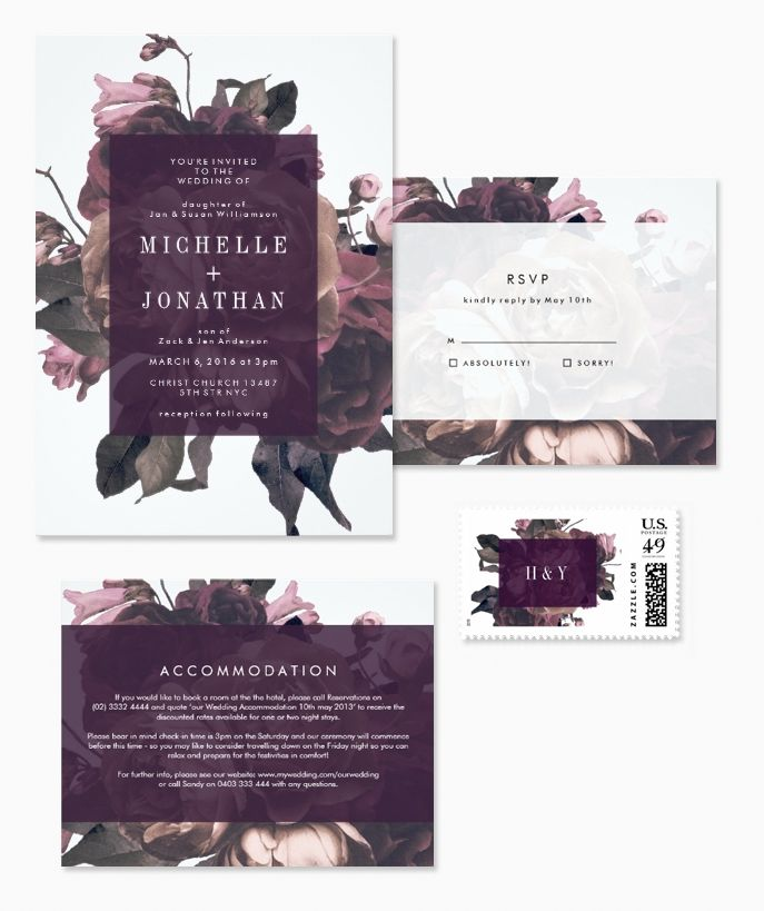 Dramatic purple floral wedding invitations, perfect for vintage fall and winter weddings. | Pretty Wedding Blog