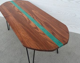 Free Shipping!! The Surfboard Coffee Table.... Mid Century Modern Coffee Table with Hairpin Legs