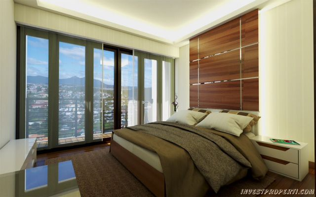 Contoh design kamar studio apartemen Green Kosambi Bandung.