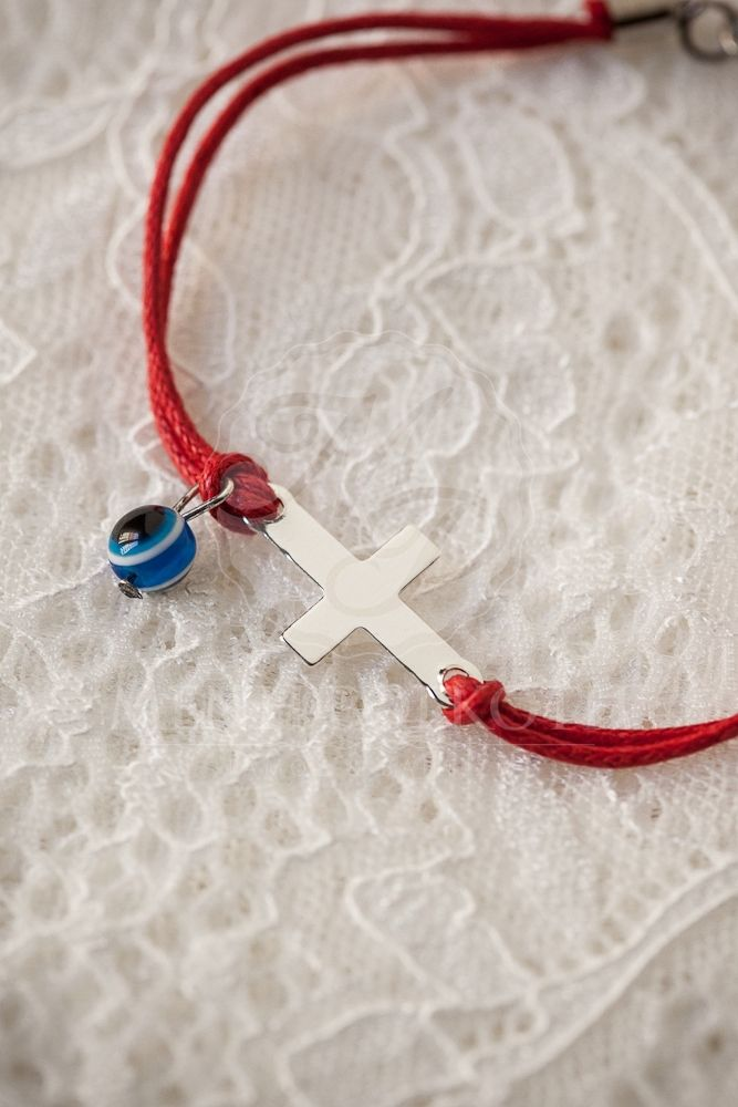 Witness bracelets red with cross and blue eye