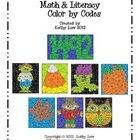 October Math & Literacy Color by Codes for grades 1-2. $4.00 Reveal the hidden picture. Active learning!