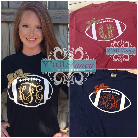 Football season is here & these monogrammed football long sleeved tees are perfect for any fan! These are Comfort Colors unisex sized tees. The