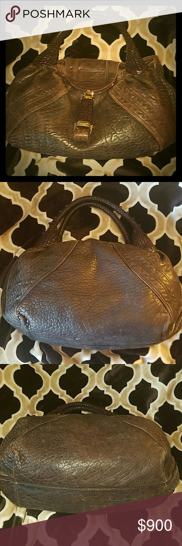 LARGE FENDI SPY BAG  SOFT NAPA LEATHER EUC AUTHENTIC FENDI SPY BAG CHOCOLATE BROWN SEE PICS FOR VARIATIONS IN COLOR GIVES BAG CHARACTER. GORGEOUS AND CLEAN INSIDE AND OUT. FENDI Bags