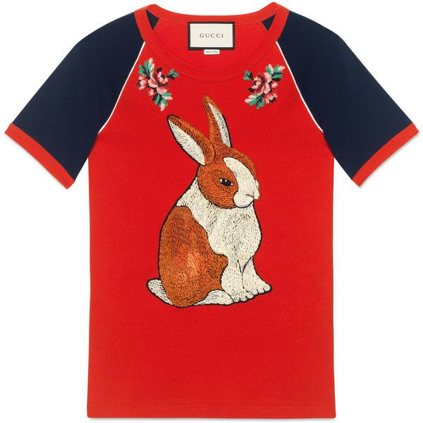 Gucci Raglan T-Shirt With Bunny Appliqué ($730) ❤ liked on Polyvore featuring tops, t-shirts, ready-to-wear, sweatshirts & t-shirts, women, floral t shirt, heart t shirt, ribbed t shirt, heart tee and red tee