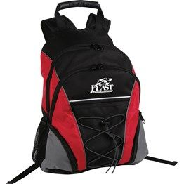 Main zippered compartment with an inside padded pocket, Second zippered main compartment, Front pockets with bungee elastic cord with toggle, Both elastic and zippered pockets on 2 sides, Padded back with adjustable backpack strap and moulded plastic handle. 600 Denier and Honeycomb Nylon. http://bit.ly/1cVCkSm