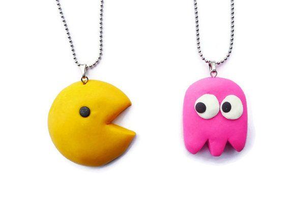 Pacman Best Friends Necklace - BFF Necklace Set, Friendship Gift, Kawaii Necklace Set, Kawaii jewelry