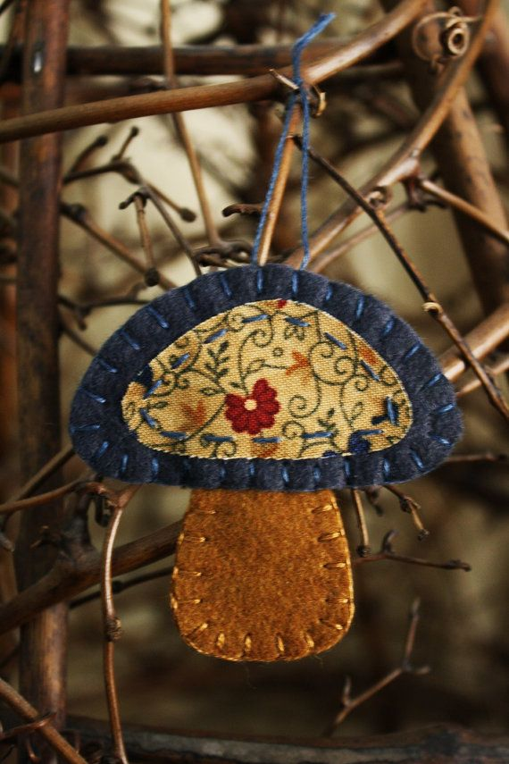 mushroom felt and fabric brooch ornament autumn by urbanpaisley, $11.00