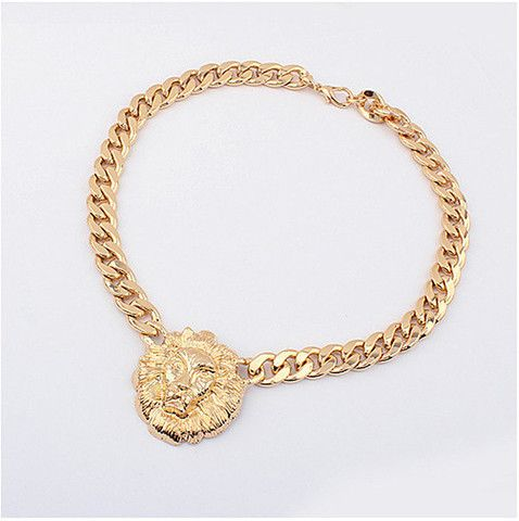 Iconic Lion head on a chunky gold-coloured curb chain necklace.  The necklace is made from metal alloy and measures approximately 52cm overall. Lion head measures 40mm x 45mm. Nickel and lead free.  Inspired by Rihanna and other cool songstrels, add roar to streetwear with chunky gold statement jewellery.
