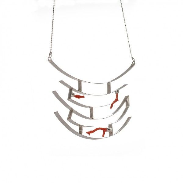 Silver and coral necklace, inspired from the japanese Torii gates