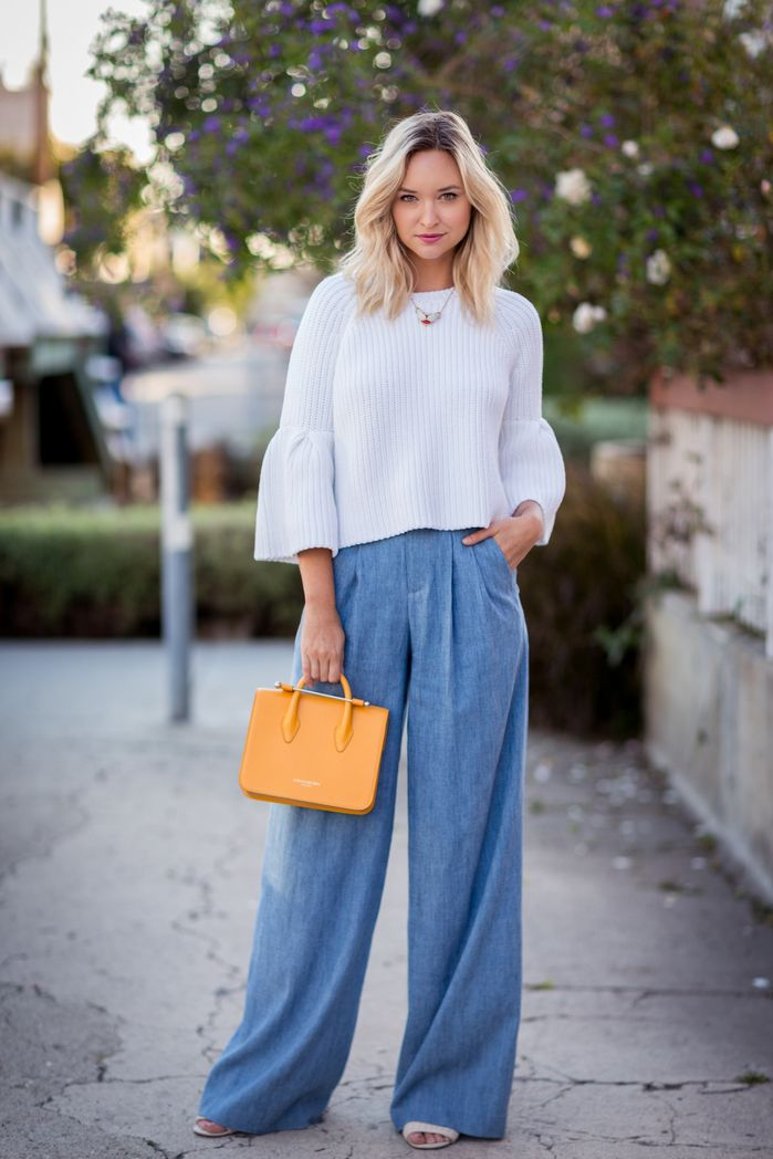 Wide leg chambray trousers and a cropped knit