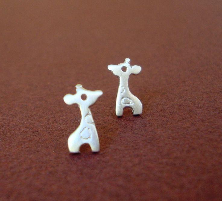 Tiny Giraffe Stud Earrings Sterling Silver Child by zoozjewelry, $27.00