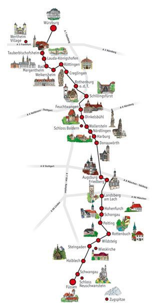 Germany' s Romantic Road Route Map. The bike route is separate and travels along bike paths and quiet country lanes.