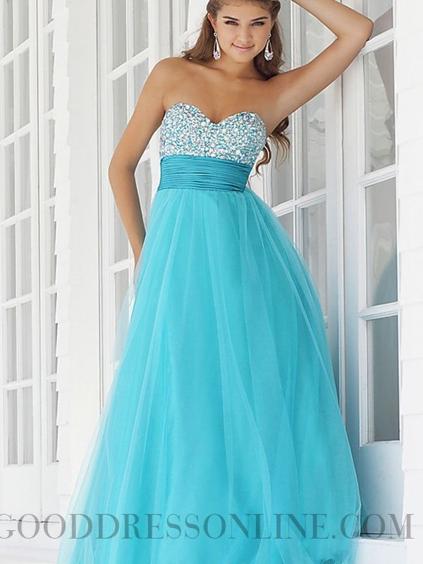Trendy A-line Floor-length Strapless Organza Prom Dresses