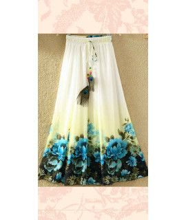 Glossy White And Blue Georgette Skirt.