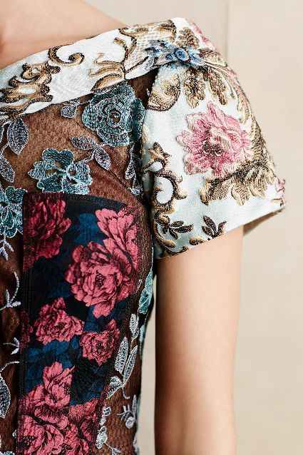 Pieced Brocade Dress close up view - anthropologie.com