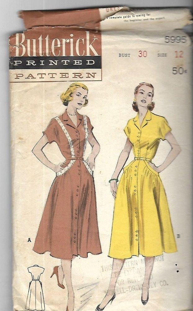 Vintage 60's Sewing Pattern Butterick 60 Shirt Dress Bust 60 Cool Sewing Pattern Paper