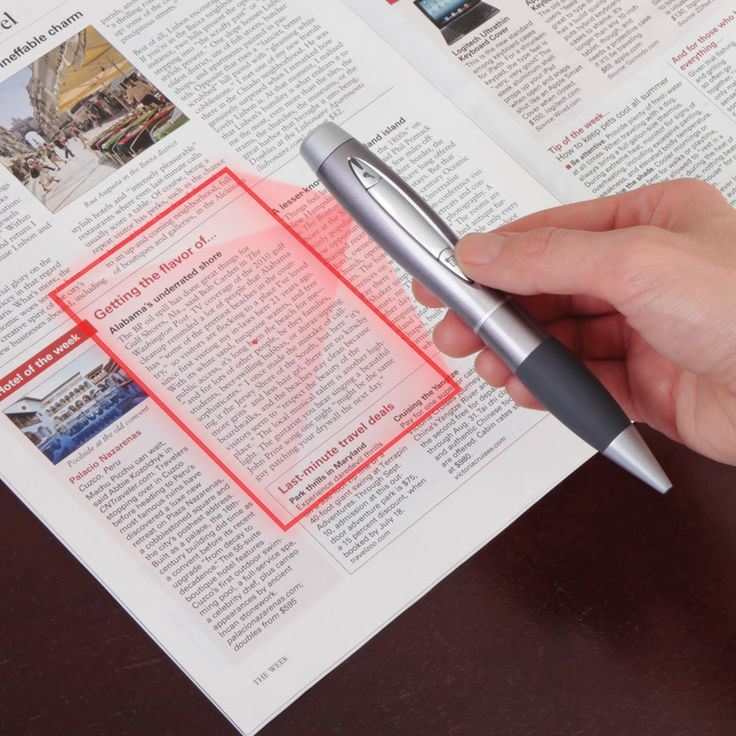 This is the ballpoint pen that laser-scans documents as easily as it scribes notes. A high-precision auto-focus lens and 5-megapixel sensor built into the pen scan letters, recipes, or important documents as crisp, clear 2048 x 1536 pixel images. Pressing the shutter button halfway projects a visible red laser frame onto a document, and the pen automatically focuses the image just before the picture is taken. The device has 1 GB of built-in flash memory