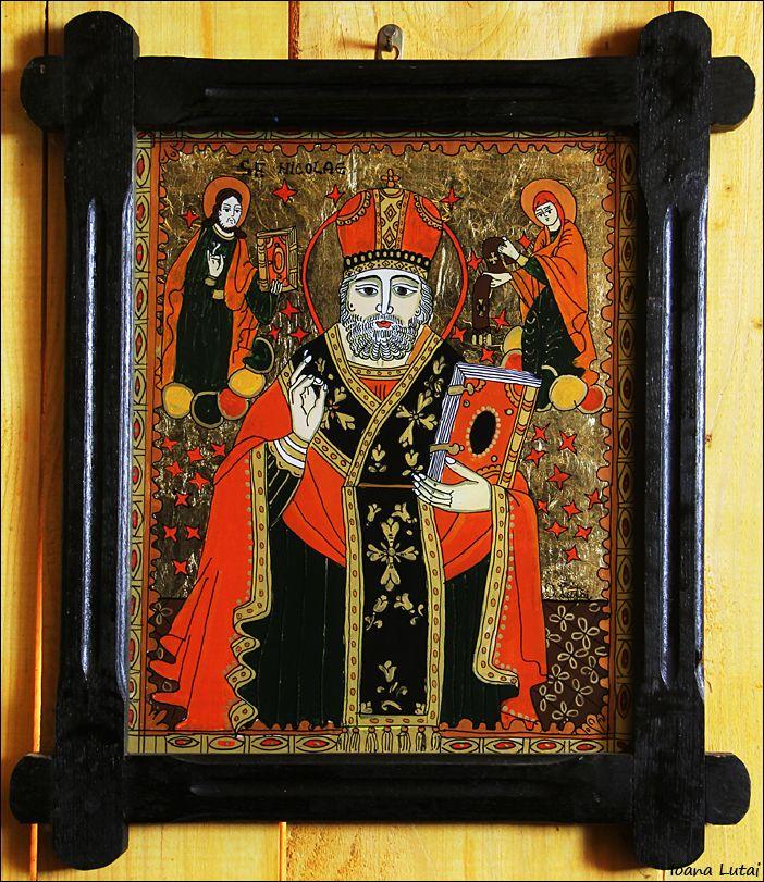 Sfantul Nicolae - Icoane pe sticla Sapanta - Ioana Lutai - foto Cristina Nichitus Roncea http://www.icoanepesticla-sapanta.ro/