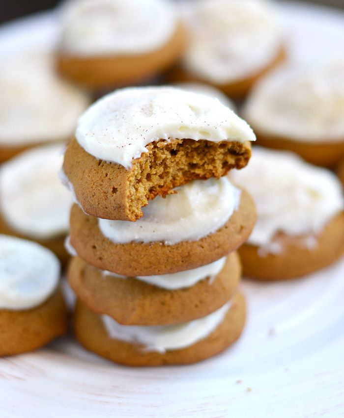 Soft Gingerbread Drop Cookies with Cream Cheese Frosting