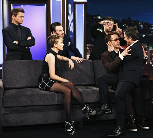 Robert Downey Jr., Chris Hemsworth, Mark Ruffalo, Chris Evans, Scarlett Johansson and Jeremy Renner from Marvel's 'Avengers: Age of Ultron ' visit 'Jimmy Kimmel Live' on April 13, 2015.