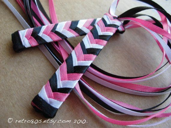 The 80s Colors  braided ribbon barrettes by retro80s on Etsy
