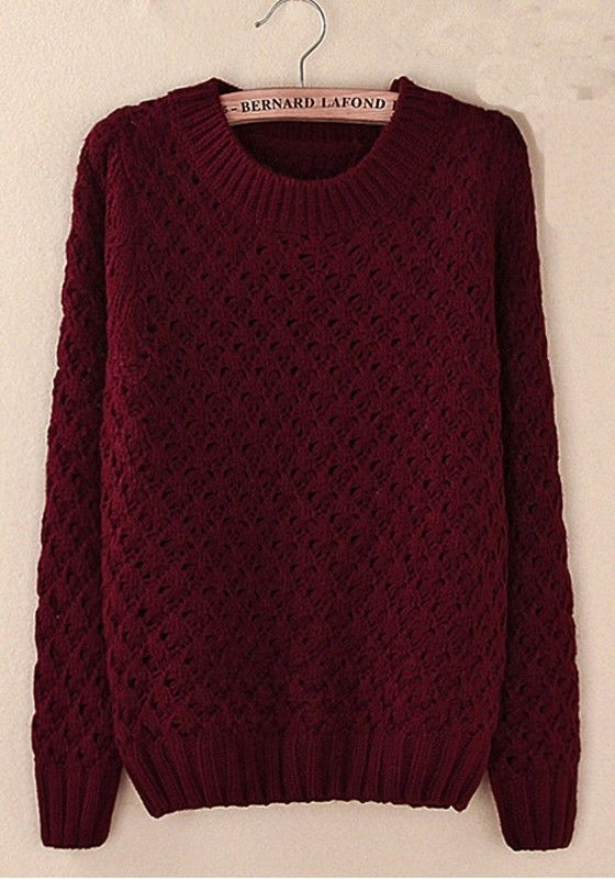 Champagne Plain Hollow-out Round Neck Acrylic Sweater. Love burgundy!