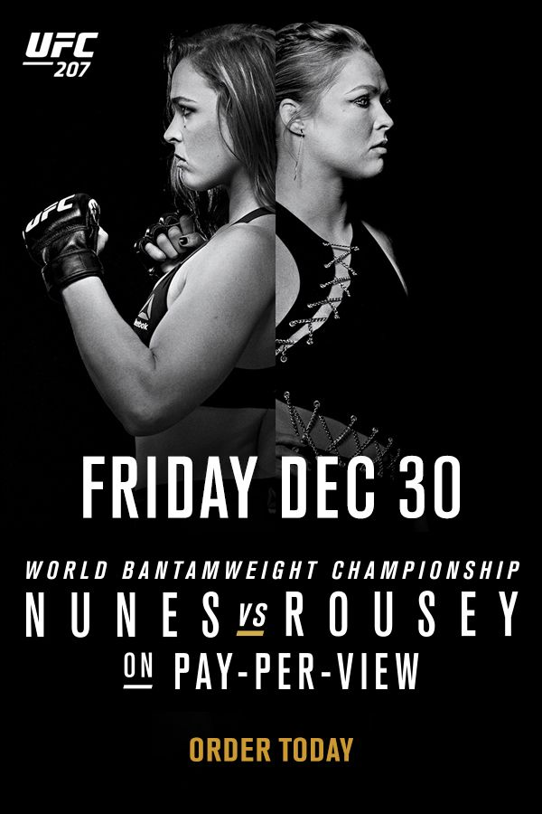 She's back! Order UFC 207 featuring Nunes vs Rousey for the bantamweight title. Streaming LIVE on Friday, December 30. Order Today!