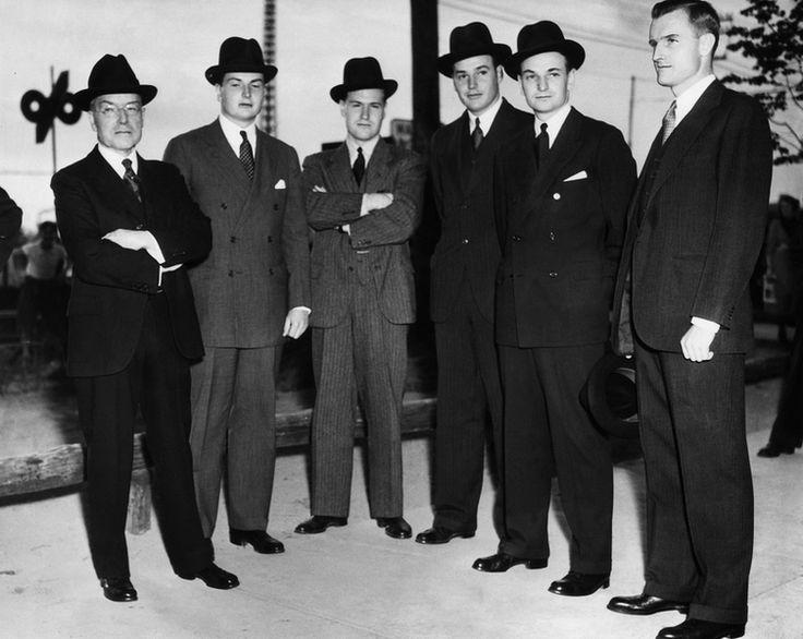 The Rockefellers -- John D. Rockefeller, Jr. and sons David Rockefeller, Nelson A. Rockefeller, Winthrop Rockefeller, Laurance Rockefeller, and John D. Rockefeller, 3rd. The family gathers in Tarrytown, N.Y. for the funeral of John D. Rockefeller, Sr., May 1937.
